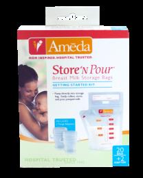 Ameda Store 'N Pour Breast Milk Storage Bags Getting Started Kit